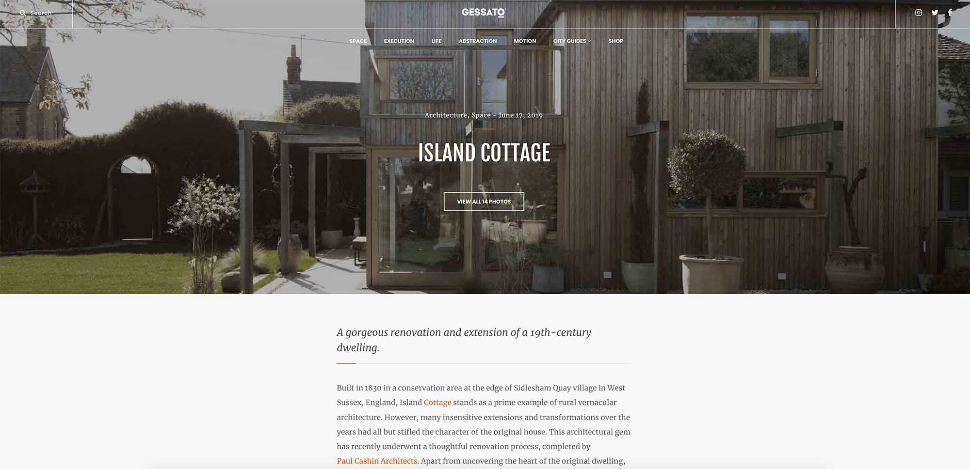 06.19 Island Cottage featured on Gessato