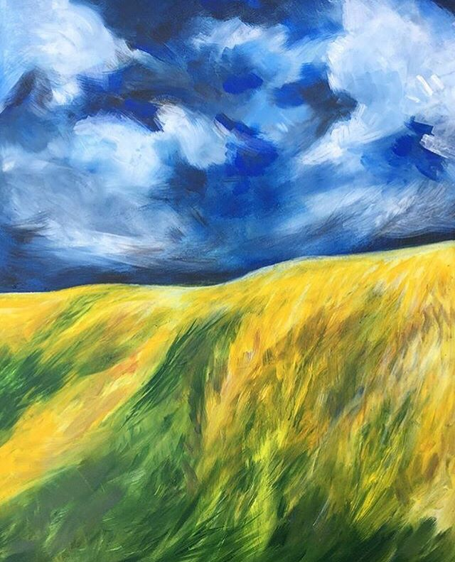 This beautiful Golden Meadows painting, inspired by Lancaster county is currently displayed at the Discover Lancaster Visitors Center (along with a few other folky pieces). The size is 36x48. Thank you Erica (@miostudio) for getting this little show together!
