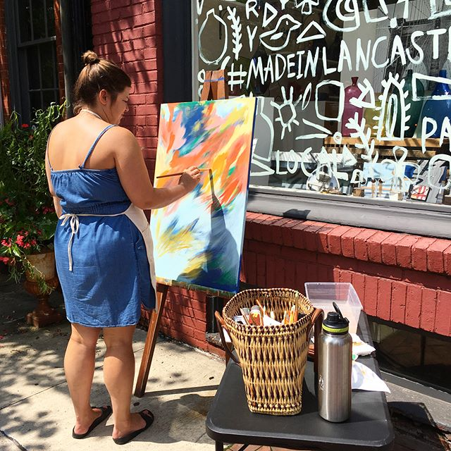 So much fun painting outside with the artists of @lancastercityartgalleries. Special thanks to all my little helpers who stopped by. The final piece will be available for sale at @miostudio.