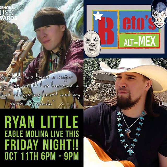 Tonight at Beto's on Broadway!! Hailing from the city of San Antonio, Texas, Ryan Little Eagle is of mixed Lakota/Taino and Latino heritage. Ryan is a multi-award winning international performer and musician.