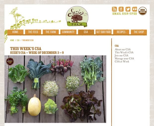 The newly revamped Suzie's Farm website