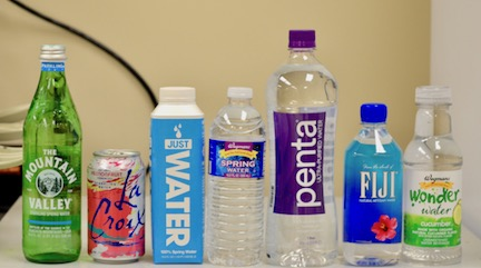 A variety of bottled waters.