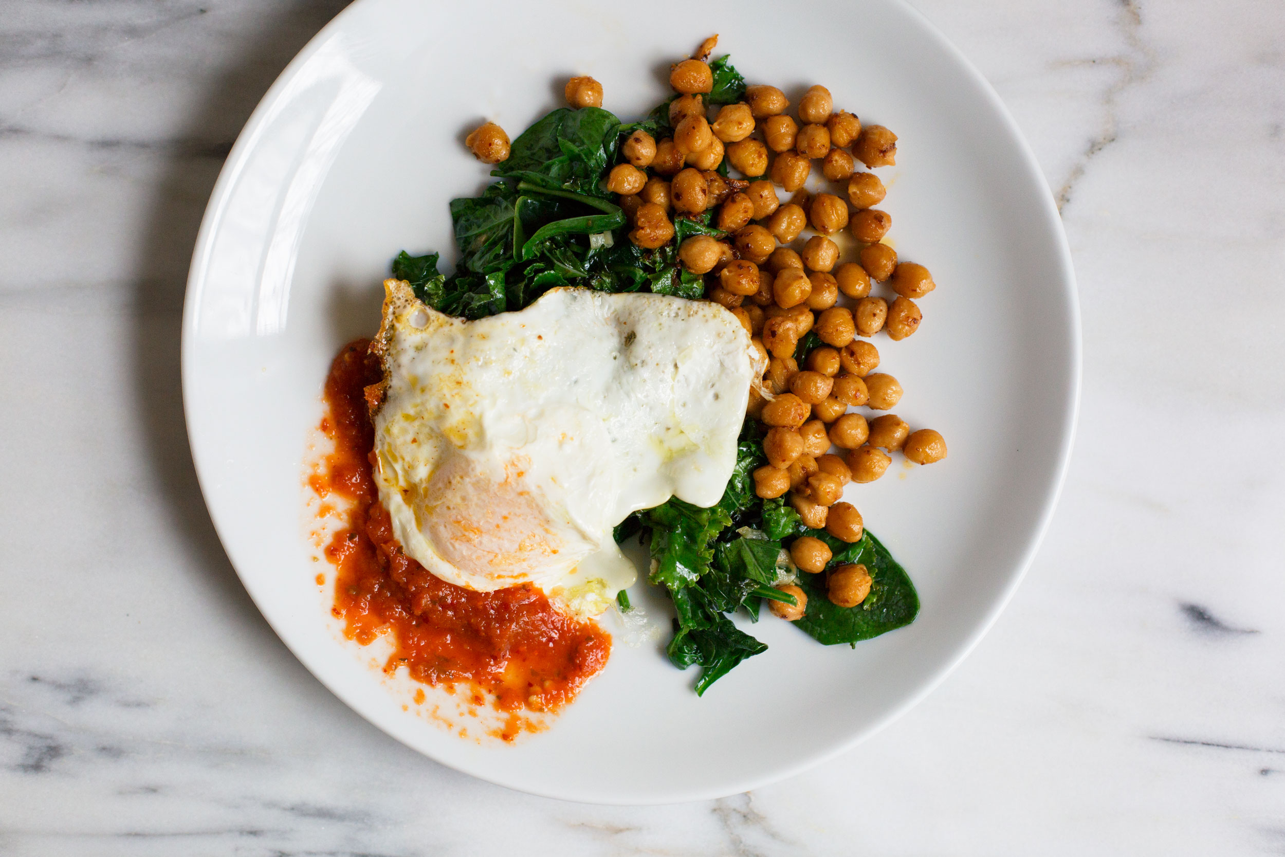 Aleppo Chickpeas with Kale and a Fried Egg