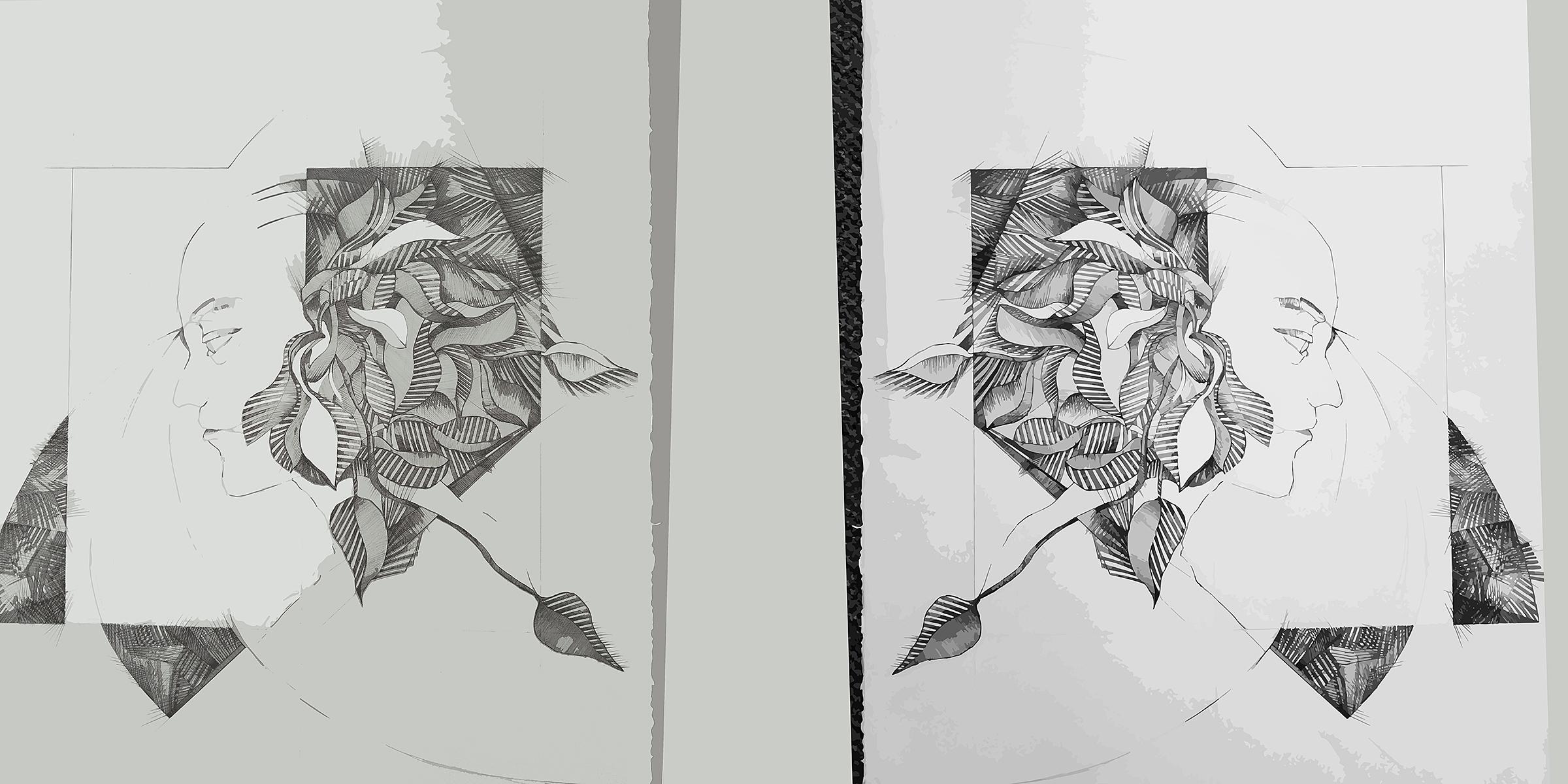 Head Rush Split   Mixed Media Digital Print 18x36 Inches, 2018