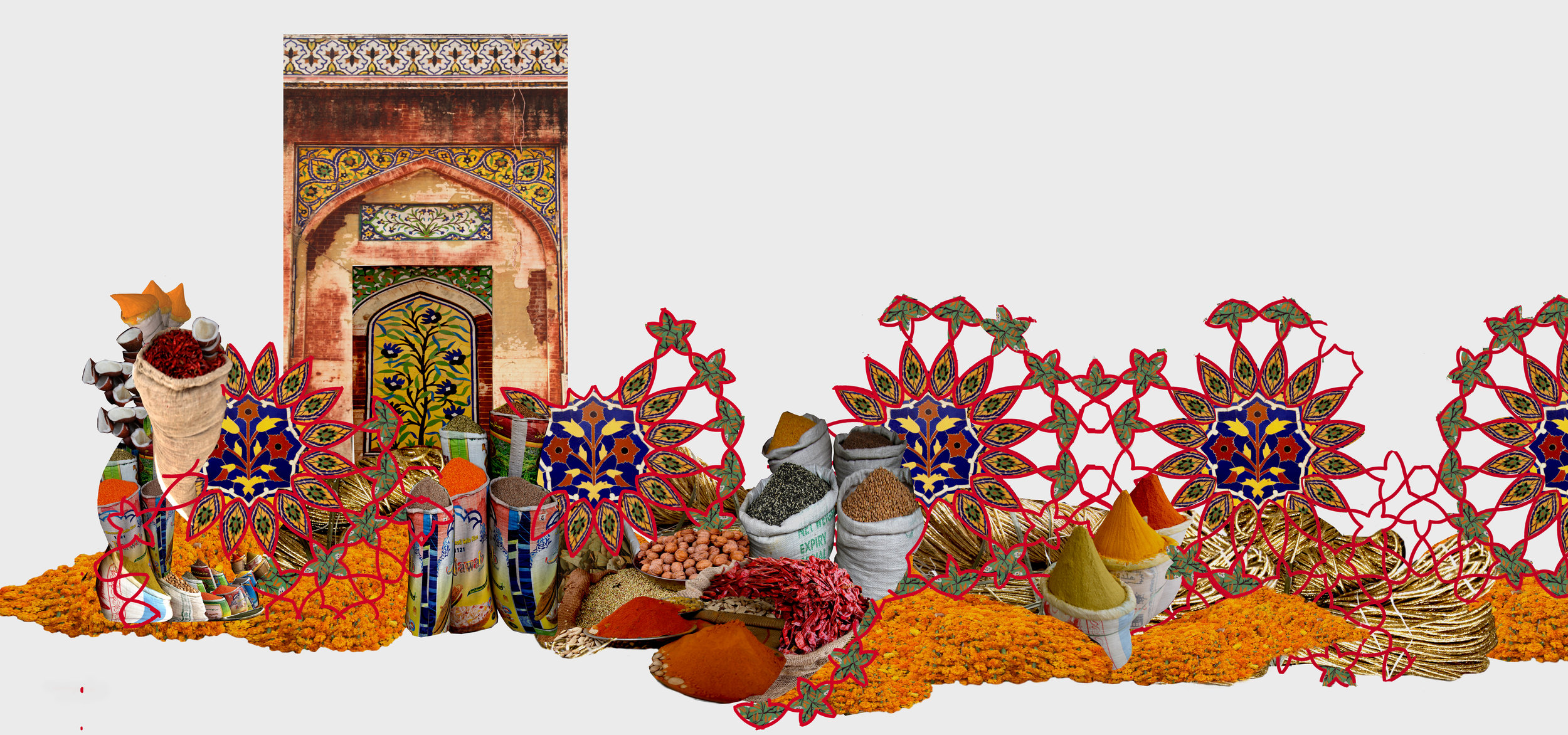 """Spice Bazaa r, digital photo collage, 22""""x34""""  This is a digital collage constructed from images of disparate parts of a city corner in Lahore. Parts of historic buildings such as the Wazir Khan mosque, that are in various stages of ruin, yet glorious in their beauty are juxtaposed with the hustle and bustle, color, and texture of the spice bazaar to form these digital collages."""