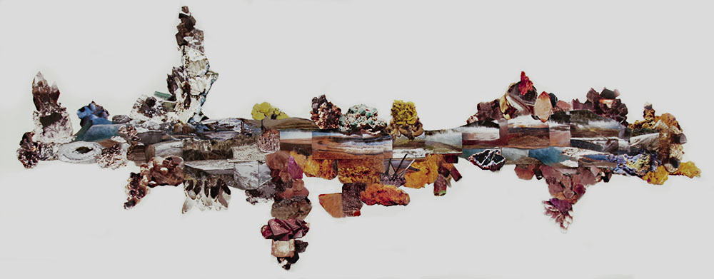 """Reconstructed Landscape, photo collage, 6'x 12""""   Reconstructed Landscape is a surreal terrain created from snippets of passing views captured on a drive through the Yellowstone National Park."""