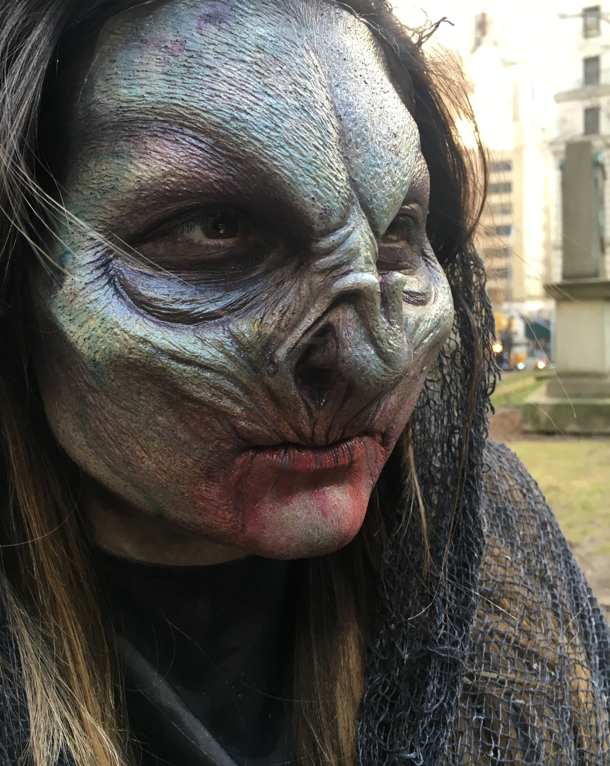 Prosthetic and airbrushed character