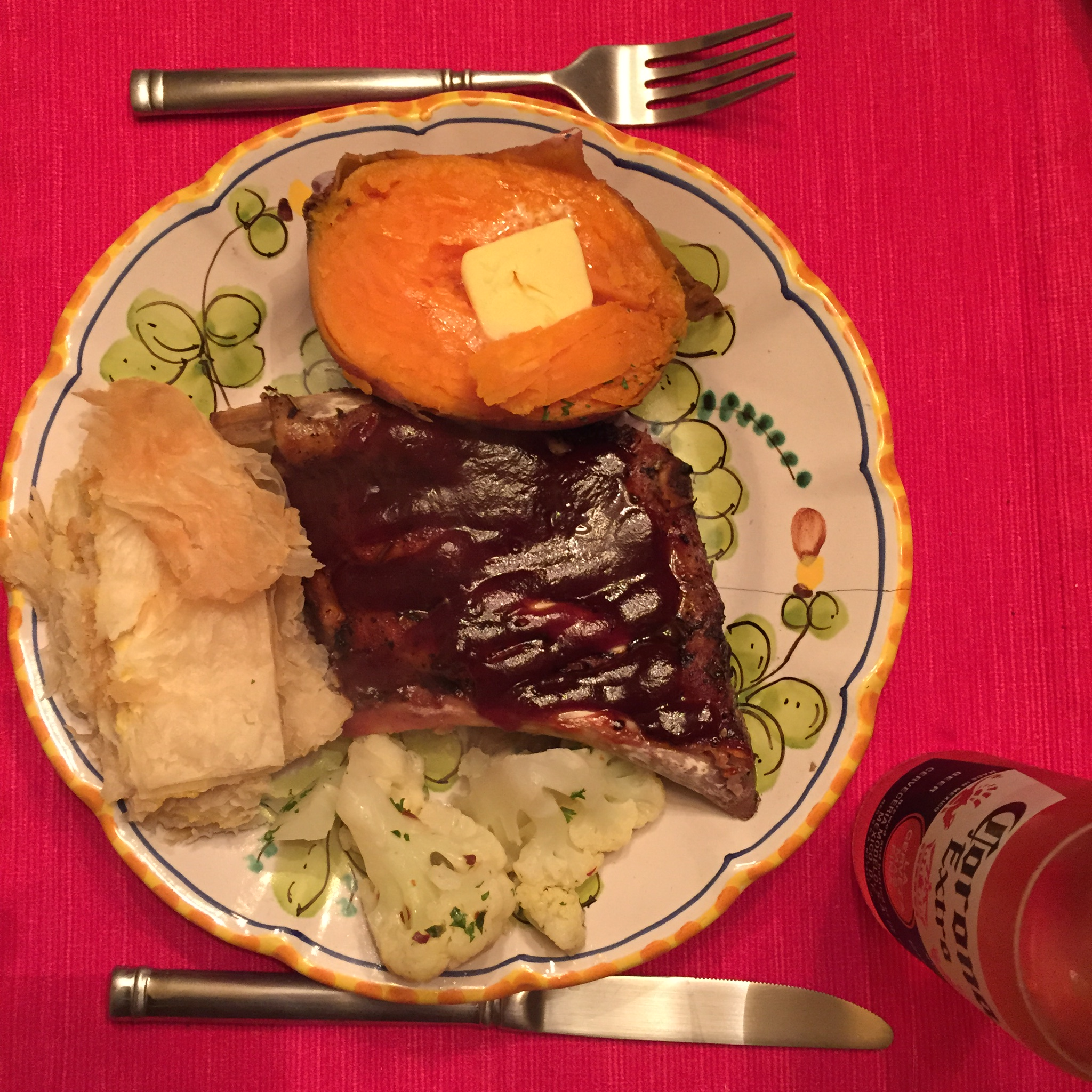 Slow Roasted Ribs, Yams, Pumpkin Byrek and Cauliflower