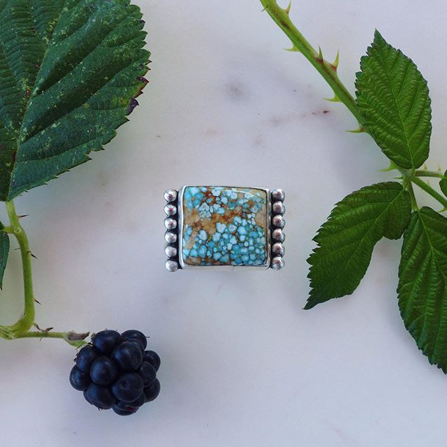 Oh hey! I'm back at it! Here's a new ring with a really beautiful hunk of no. 8 turquoise 〰️ Size 7 and available 🍓🌾