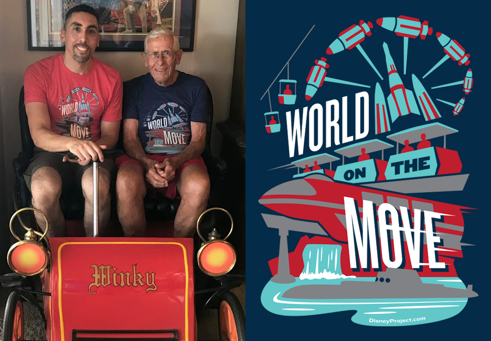 """Keith Gluck and Disney Legend Imagineer Bob Gurr (who designed all the original ride vehicles shown here in the """"World on the Move"""") sitting in his own personal Mr. Toad Car"""