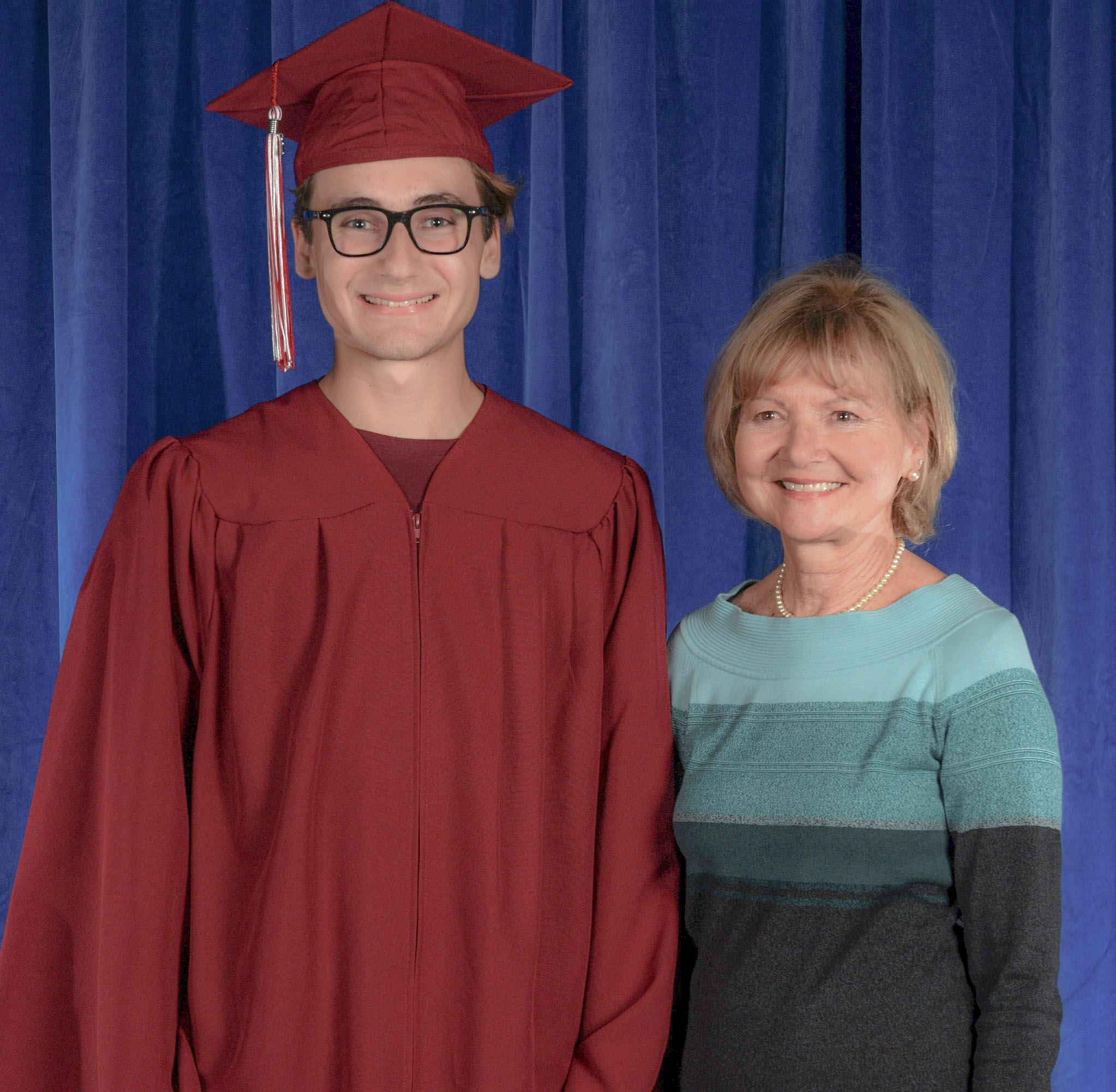Village Laguna Judy Teverbaugh and 2019 Scholarship winner Charles Dickerson