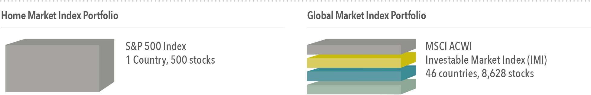 Number of holdings and countries for the S&P 500 Index and MSCI ACWI (All Country World Index) Investable Market Index (IMI) as of December 31, 2016. The S&P data is provided by Standard & Poor's Index Services Group. MSCI data ©MSCI 2017, all rights reserved. International investing involves special risks such as currency fluctuation and political stability. Investing in emerging markets may accentuate those risks. Diversification does not eliminate the risk of market loss. Indices are not available for direct investment