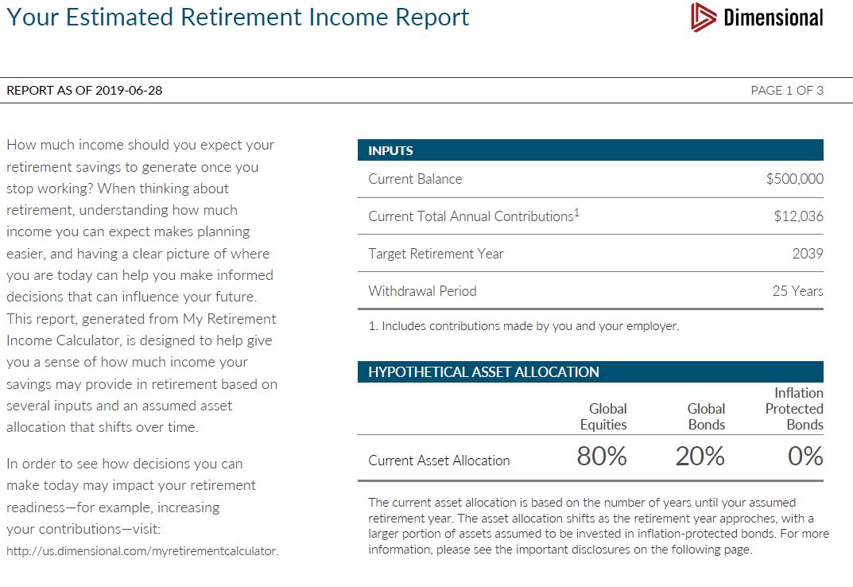 My Retirement Readiness Calculator  Sample Report