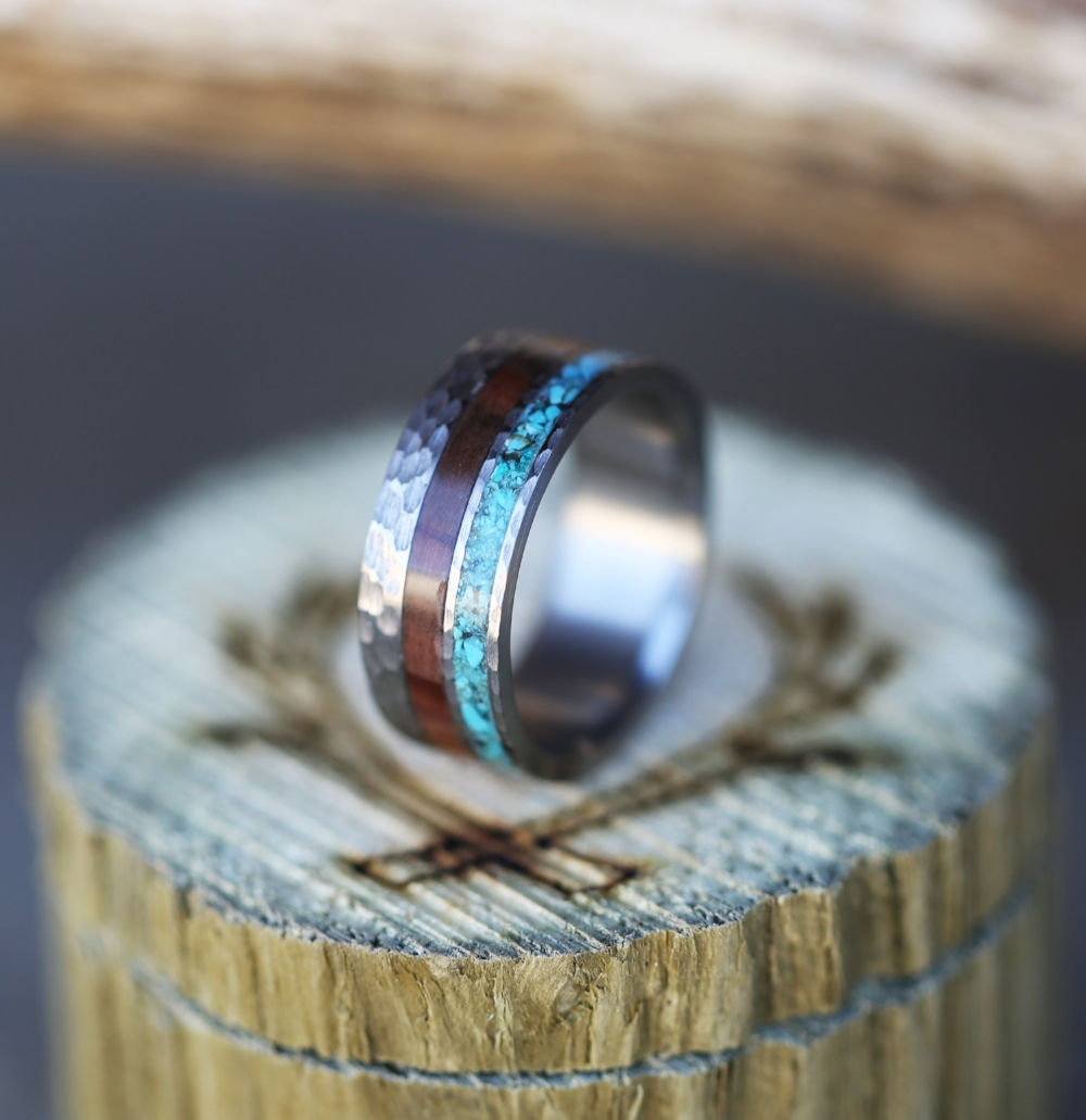 Hammered Titanium Ring With Ironwood And Turquoise Available In Titanium Silver Black
