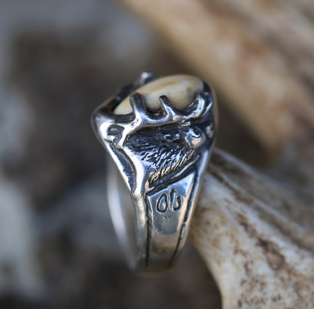 Custom Hand Carved Elk Tooth Elk Ivory Ring Staghead Designs Design Custom Wedding Bands