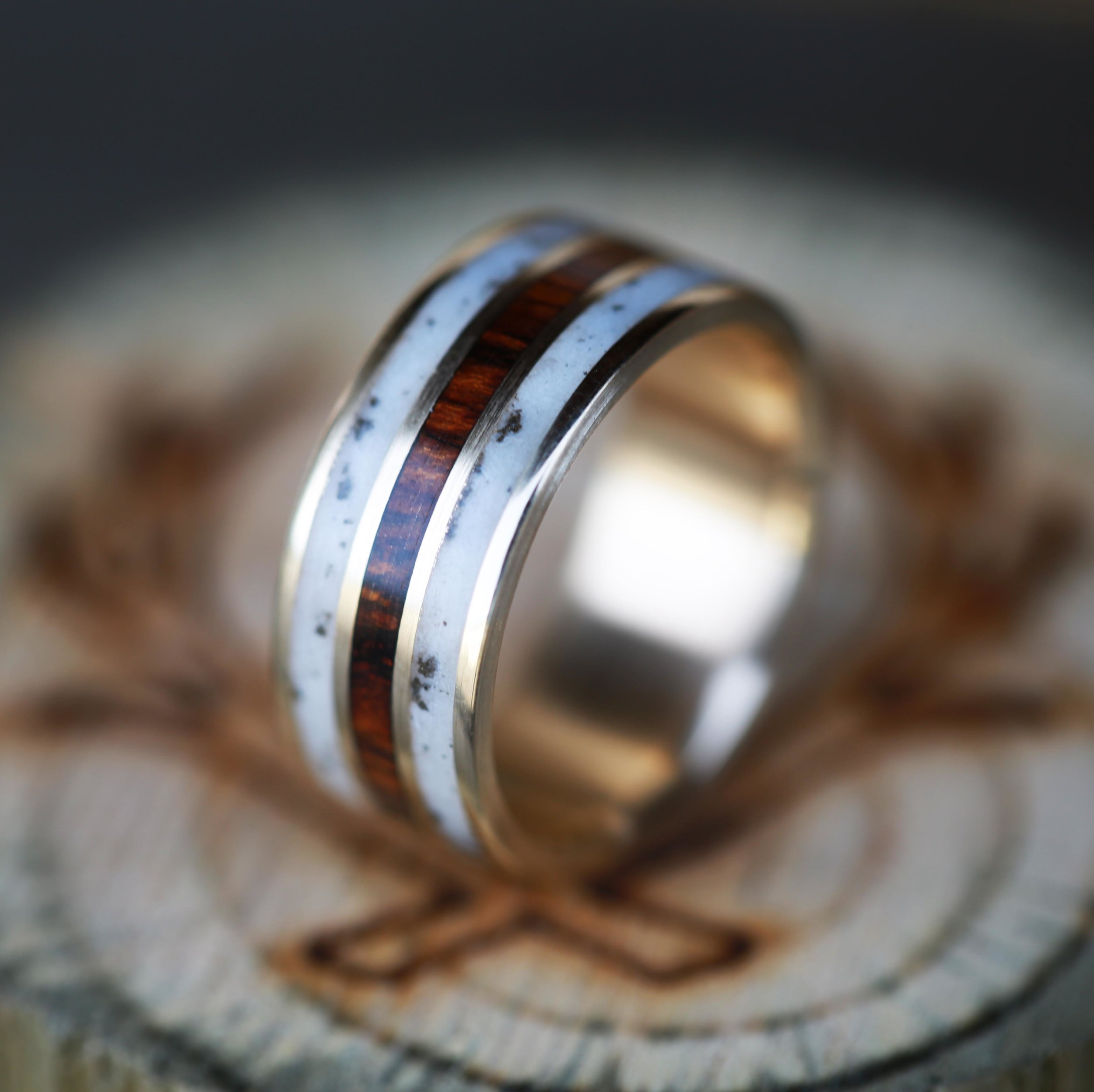 Quot Rio Quot 14k Gold Ring With Desert Ironwood And Antler Inlays Available In 14k White Rose Or
