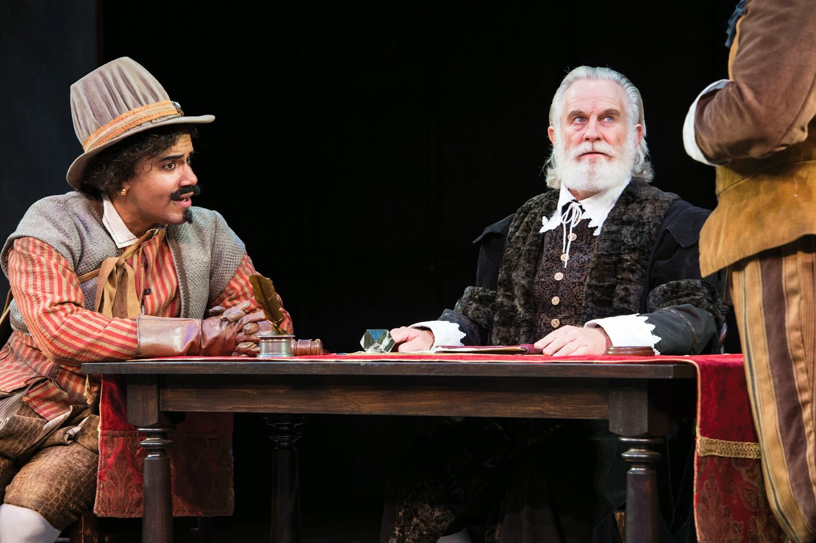 Anthony Simone (left) as Pompey and Henry Woronicz as Escalus Measure for Measure. Photo by Karl Hugh.