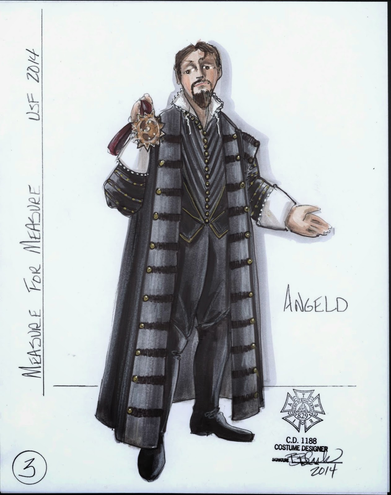 Costume sketch Angelo  Costume designs by Bill Black