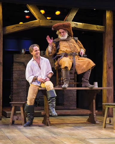 Sam Ashdown (left) as Prince Hal and Henry Woronicz as Falstaff in  Henry IV Part One .