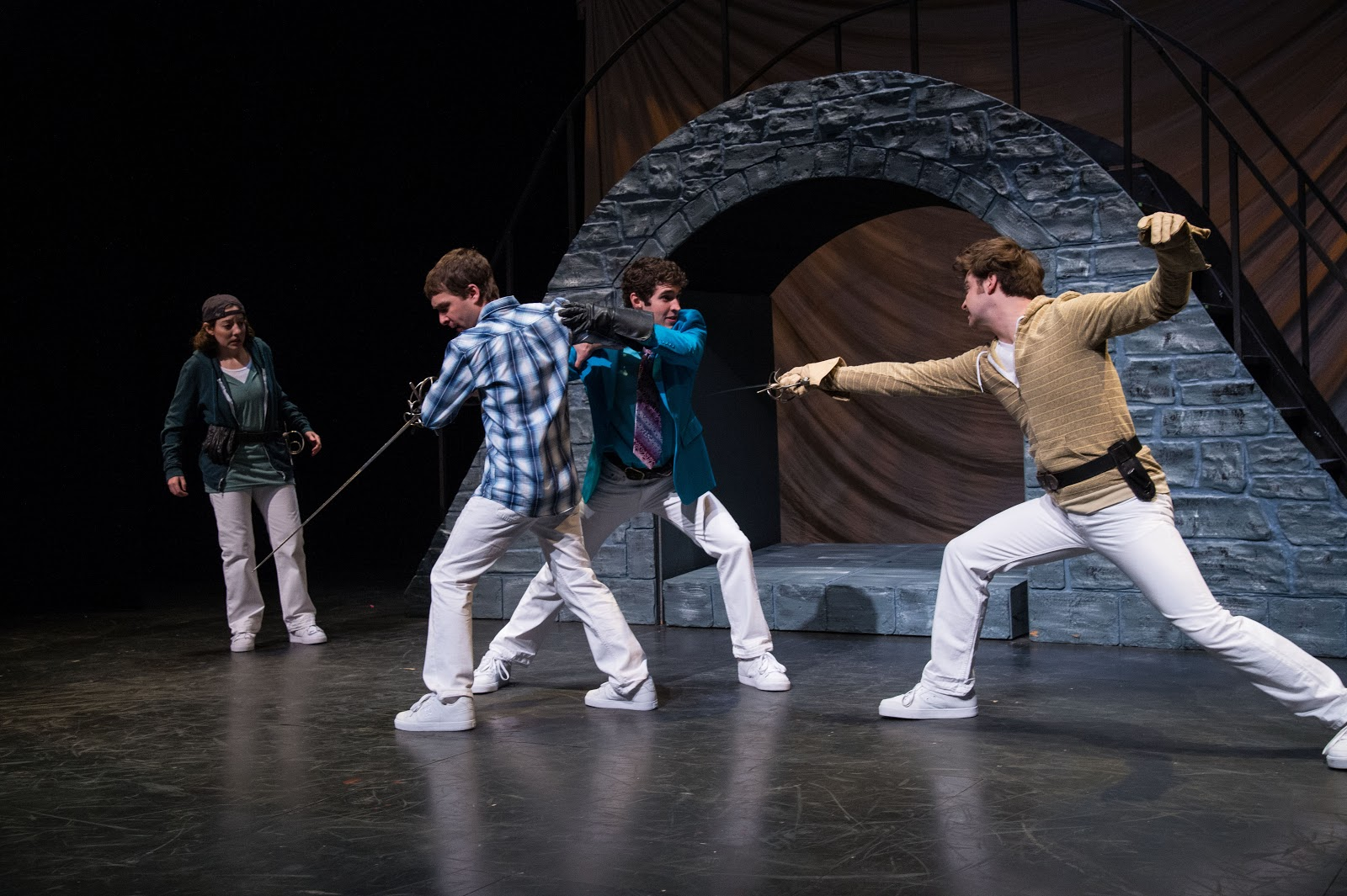 Elyse Edelman (left) as Benvolio, Chris Klopatek as Romeo, Zachary Powell as Mercutio, &JoshuaJames Innerst as Tybalt in theUtah Shakespeare Festival's  Romeo and Juliet.