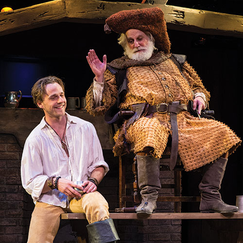 Sam Ashdown (left) as Prince Hal and Henry Woronicz as Sir John Falstaff,  Henry IV Part One,  2014