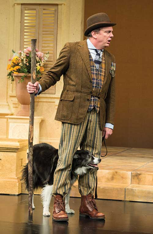 Chris Mixon as Launce and Jake as Crab in  The Two Gentlemen of Verona,  2015. Photo by Karl Hugh.