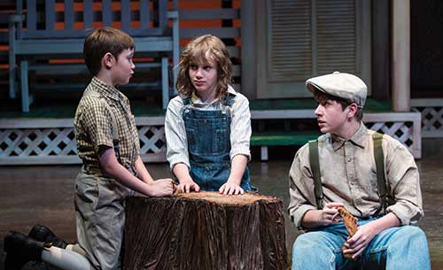 Bailey W. Duncan (left) as Dill, Jinger Axelson as Scout, and Nicholas P. Denhalter as Jem in  To Kill a Mockingbird,  2012.