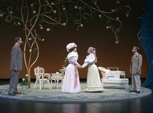 Rex Young (left) as John Worthing, Tyler Layton as Hon. Gwendolyn Fairfax, Katie Kowlowski as Cecily Cardew, and Paul Riopelle as Algernon Moncrieff in  The Importance of Being Earnest,  2003.