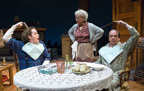 Lloyd Mulvey (left) as Ellard Simms, Jane Ridley as Betty Meeks, and Chris Mixon as Charlie Baker in  The Foreigner,  2005.