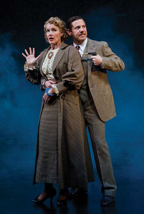 Carol Linnea Johnson (left) as Woman, and Brian Vaughn as Richard Hannay in  Alfred Hitchcock's The 39 Steps,  2010.