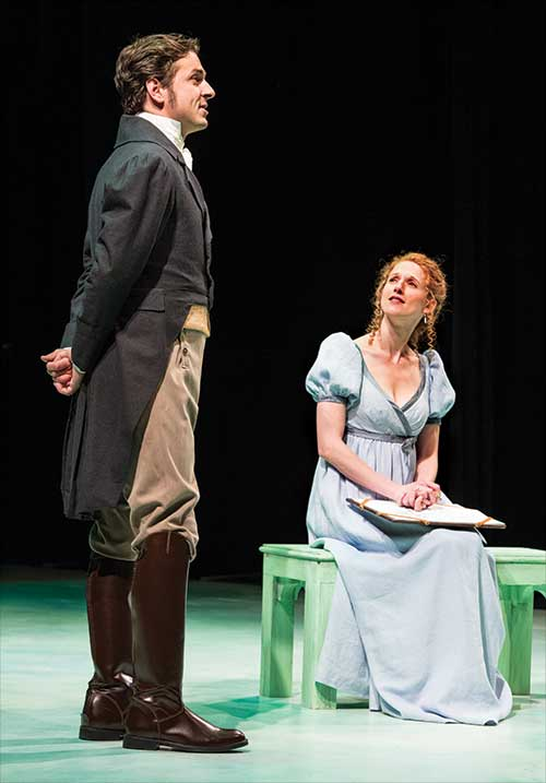 Quinn Mattfeld (left) as Edward Ferrars and Cassandra Bissell as Elinor Dashwood in  Sense and Sensibility, 2014.