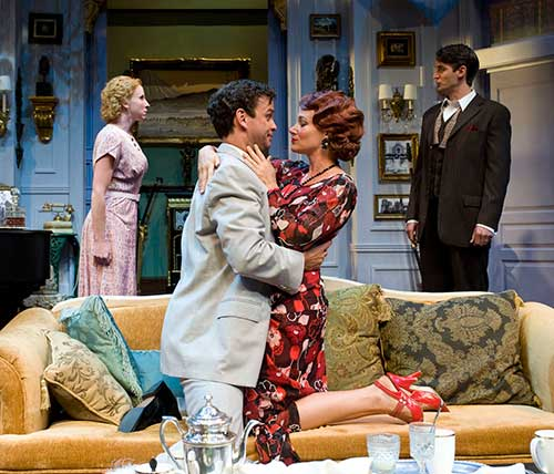 Katie Whetsell (left) as Sibyl Chase, Don Burroughs as Elyot Chase, Carol Linnea Johnson as Amanda Prynne, and Michael Brusasco as Victor Prynne in  Private Lives,  2009.