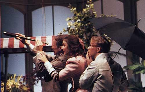 William Leach (left) as John Tarleton, Jody Barrett as Hypatia, and Michael Boudewyns as Bentley in  Misalliance,  1991.