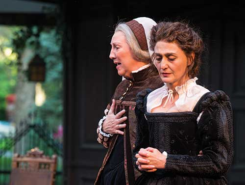 Leslie Brott (left) as Hanna Kennedy and Jacqueline Antaramian as Mary Stuart in  Mary Stuart,  2012.