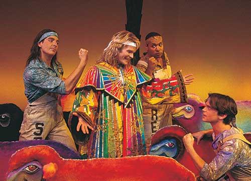 Will Peters (left) as Simeon, Joseph Heninger-Potter as Joseph, René Thorton Jr. as Reuben, and Matt Bomer as Isaacher in  Joseph and the Amazing Technicolor Dreamcoat,  1998.