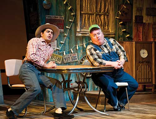 George Walker (left) as Arles Struvie and Michael Daly as Thurston Wheelis in the Utah Shakespeare Festival's 2010 production of  Greater Tuna.