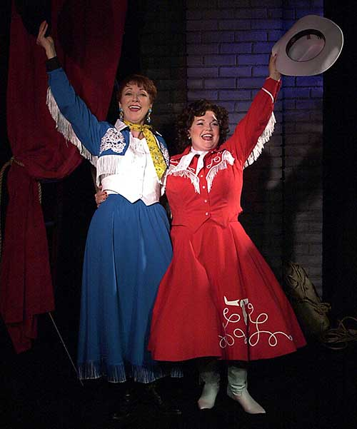 Leslie Brott (left) as Louise Seger and Kitty Balay as Patsy Cline in  Always . . . Patsy Cline,  2000.