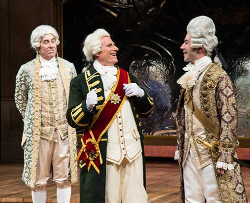 David Ivers (left) as Antonio Salieri, John Pribyl as Joseph II, and Tasso Feldman as Wolfgang Amadeus Mozart as Count Franz Orsini-Rosenberg in the Utah Shakespeare Festival's 2015 production of  Amadeus.