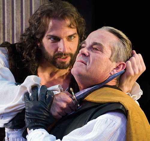 Michael Sharon (left) as Tullus Aufidius and James Newcomb as Caius Martius Coriolanus in the Utah Shakespearean Festival's 2007 production of  Coriolanus .