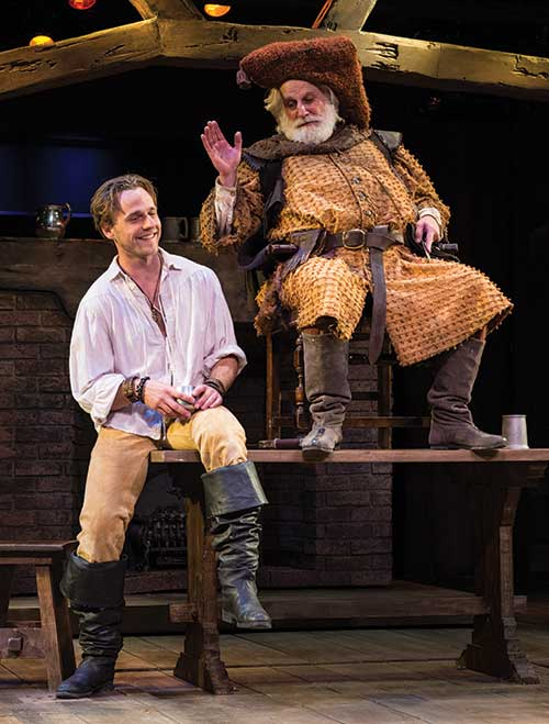 Sam Ashdown (left) as Prince Hal and Henry Woronicz as Sir John Falstaff in  Henry IV Part One,  2014.