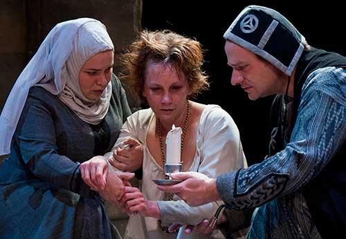 Lillian Castillo (left) as Gentlewoman, Kymberly Mellen as Lady Macbeth, and Ron Thomas as a Doctor in  Macbeth,  2010.
