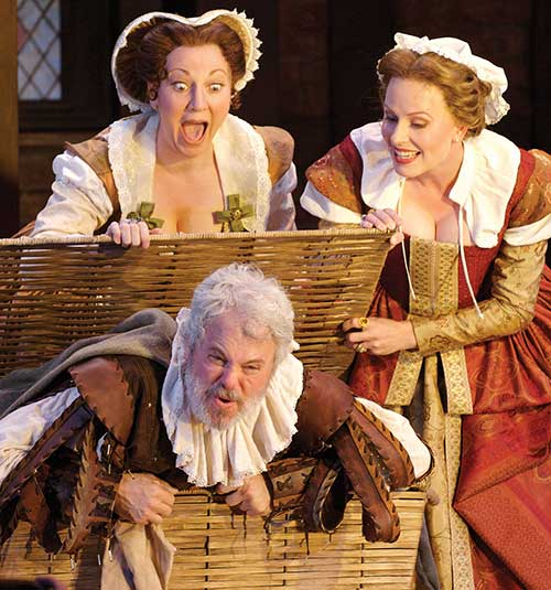 Leslie Brott (left) as Mistress Alice Ford, Kieran Connolly as Sir John Falstaff, and Victoria Adams-Zischke as Mistress Margaret Page in  The Merry Wives of Windsor,  2006.