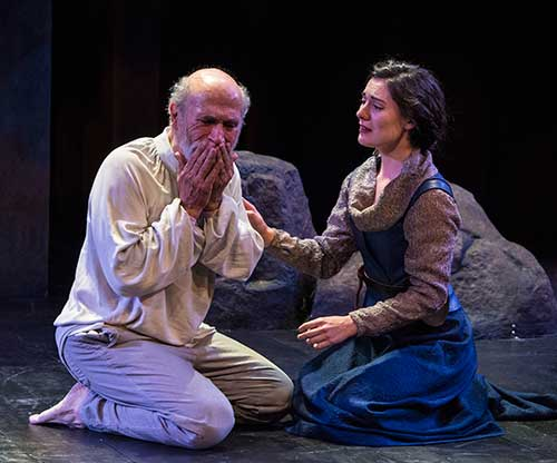 Tony Amendola (left) as King Lear and Kelly Rogers as Cordelia in  King Lear,  2015.