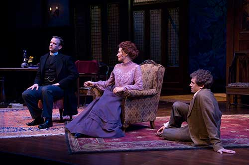 Donald Sage Mackay (left) as the Reverend James Mavor Morrell, Anne Newhall as Candida, and Shawn Fagan as Eugene Marchbanks in the Utah Shakespeare Festival's 2007 production of  Candida .