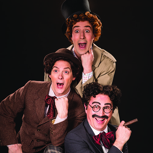 Tasso Feldman (top) as Harpo (Silent Red), Jim Poulos as Chico (Willy Wony Diddydony), and John Plumpis as Mr. Hammer (Groucho) in  The Cocoanuts,  2016.