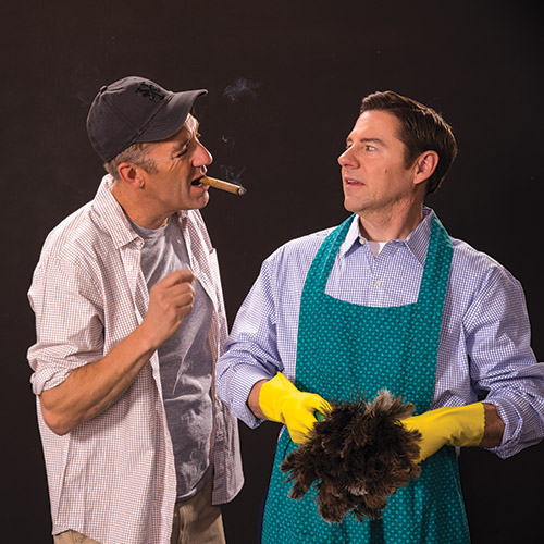 David Ivers (left) as Oscar Madison and Brian Vaughn as Felix Ungar in  The Odd Couple,  2016.
