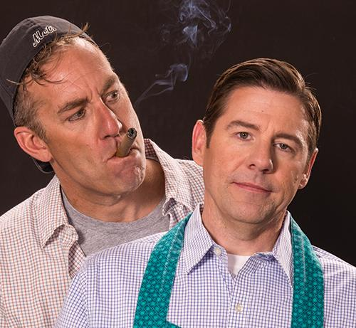 David Ivers (left) as Oscar Madison and Brian Vaughn as Felix Ungar in  The Odd Couple
