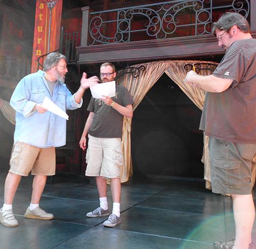 Roderick Peeples (left), a Festival actor, teachers an acting class.