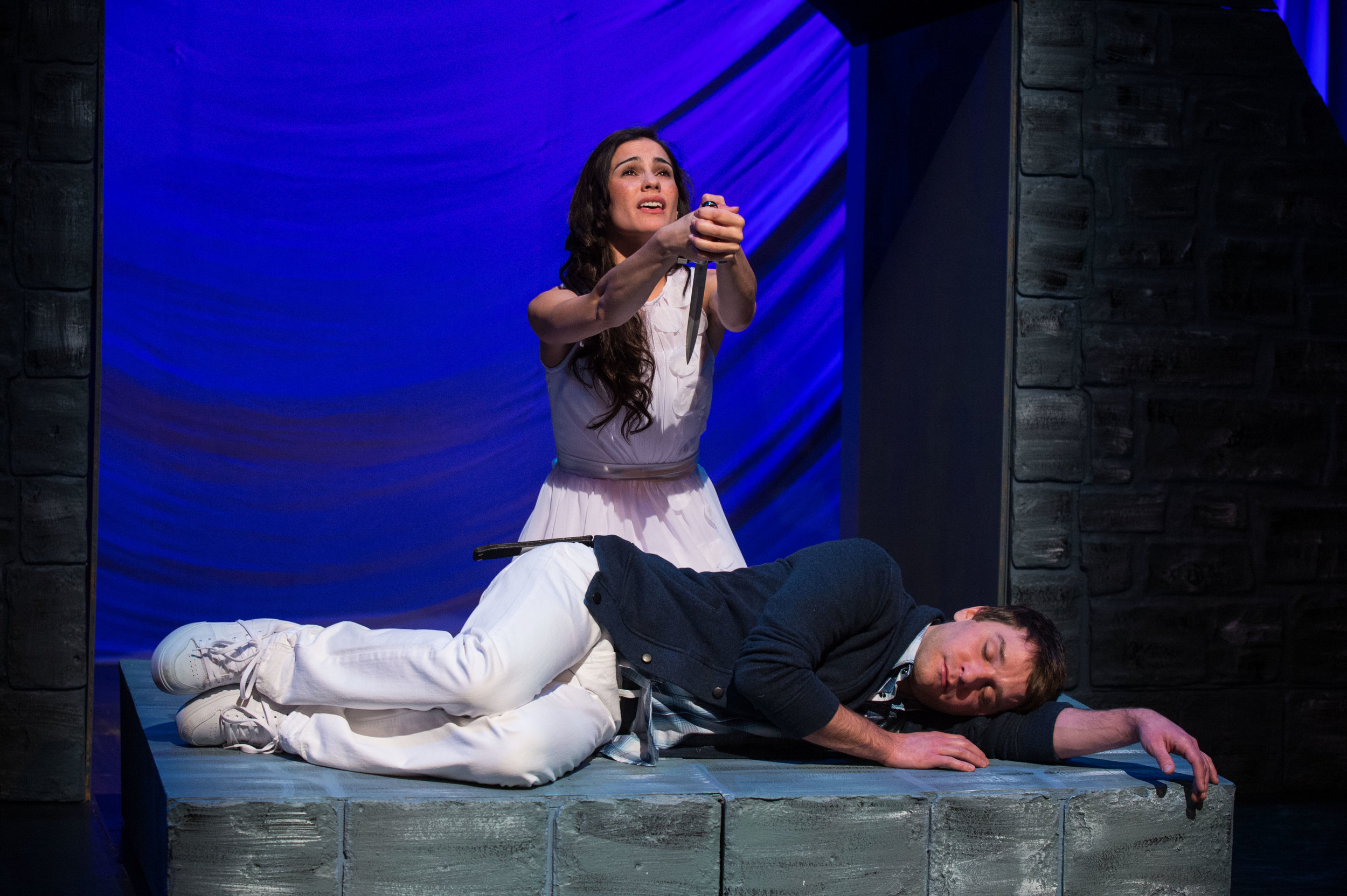 Melisa Pereyra (top) as Juliet and Chris Klopatek as Romeo in the Festival's educational touring production of  Romeo and Juliet,  2013.