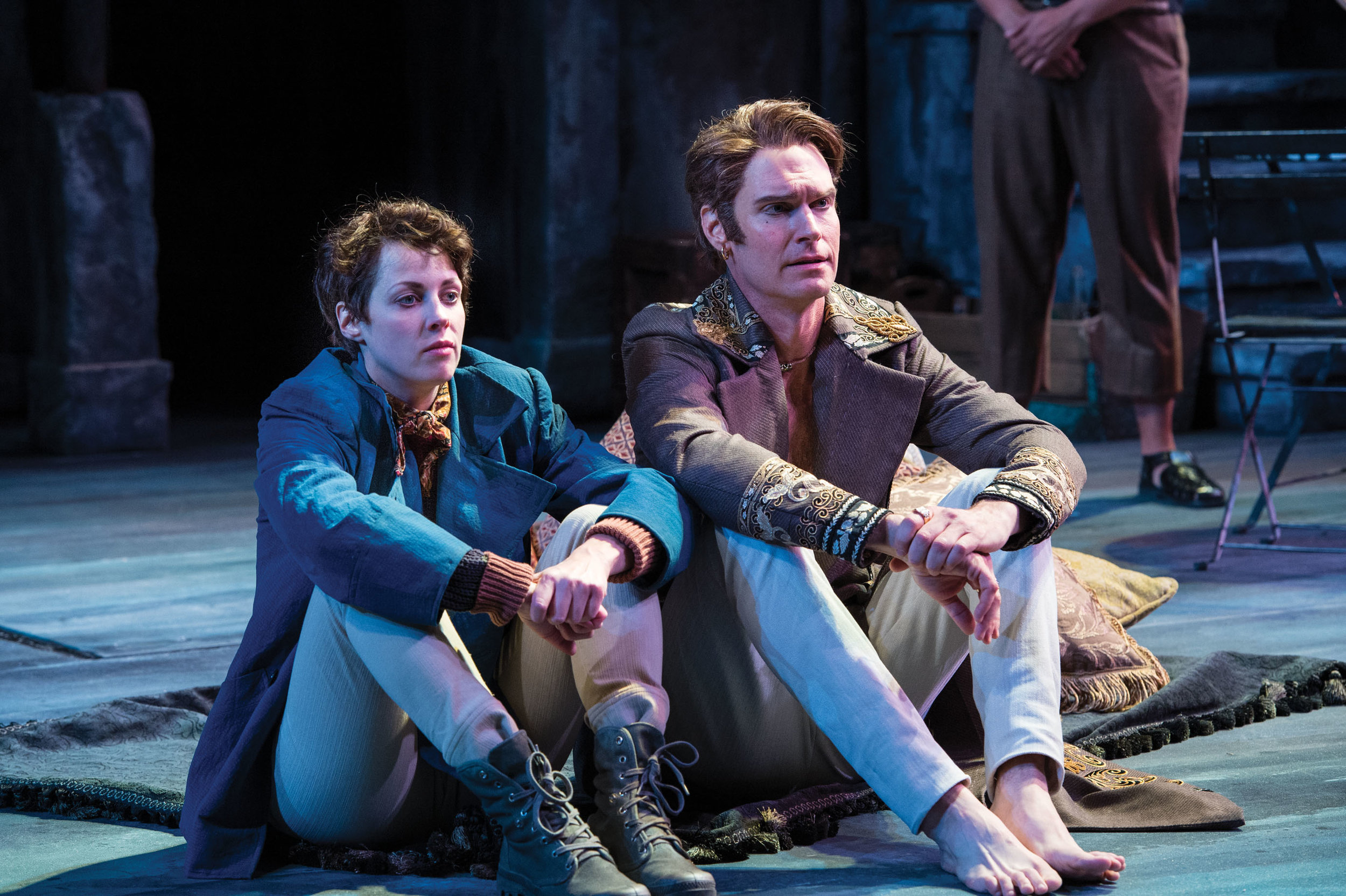 Nell Geisslinger (left) as Viola (disguised as Cesario) and Grant Goodman as Orsino in  Twelfth Night,  2014 .